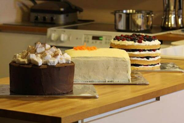 The trio of layer cakes: chocolate, carrot and lemon-berry