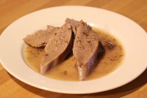 Veal tongue with mustard and red wine vinegar