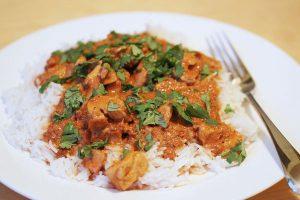 Chicken tikka masala on basmati rice