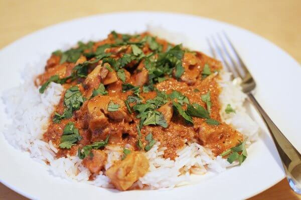 Chicken tikka masala on basmati rice
