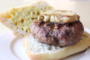 Grilled beef burger with seared foie gras