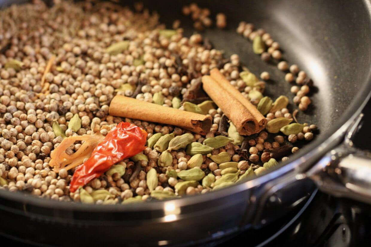 Toasting whole spices for garam masala