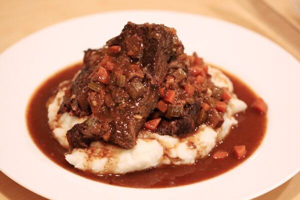 Hunter's style braised short ribs on mashed potatoes