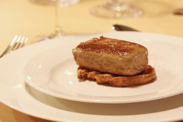 Seared foie gras on toasted baguette