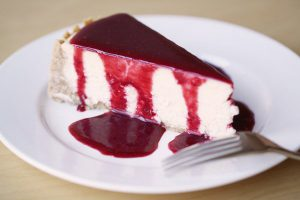 The perfect cheesecake (with sour cherry purée)