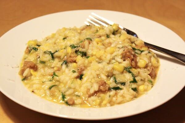 Risotto with corn, Italian sausage and arugula