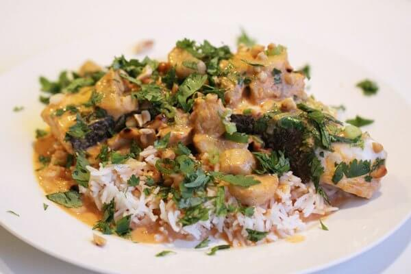 Thai-style halibut and banana curry