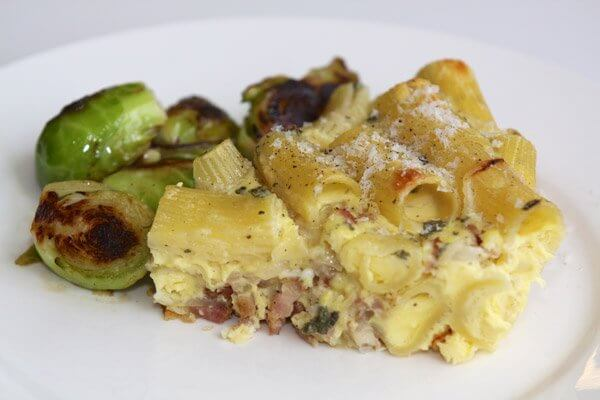 Pasta carbonara frittata with sautéed Brussels sprouts