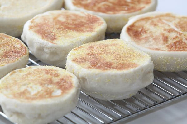 Freshly-baked sourdough English muffins