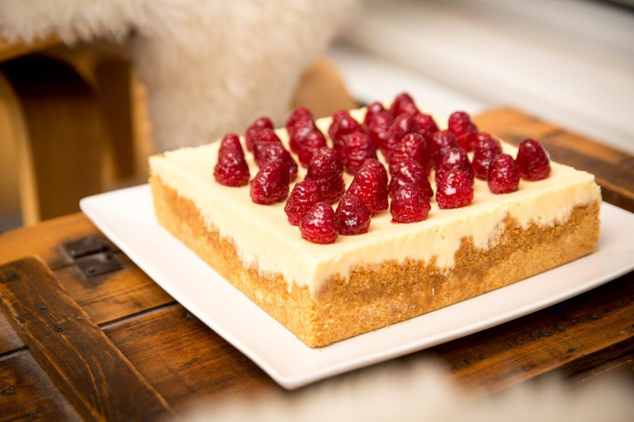 "My square white chocolate raspberry cheesecake, baked in a regular 8""x8"" square cake pan"