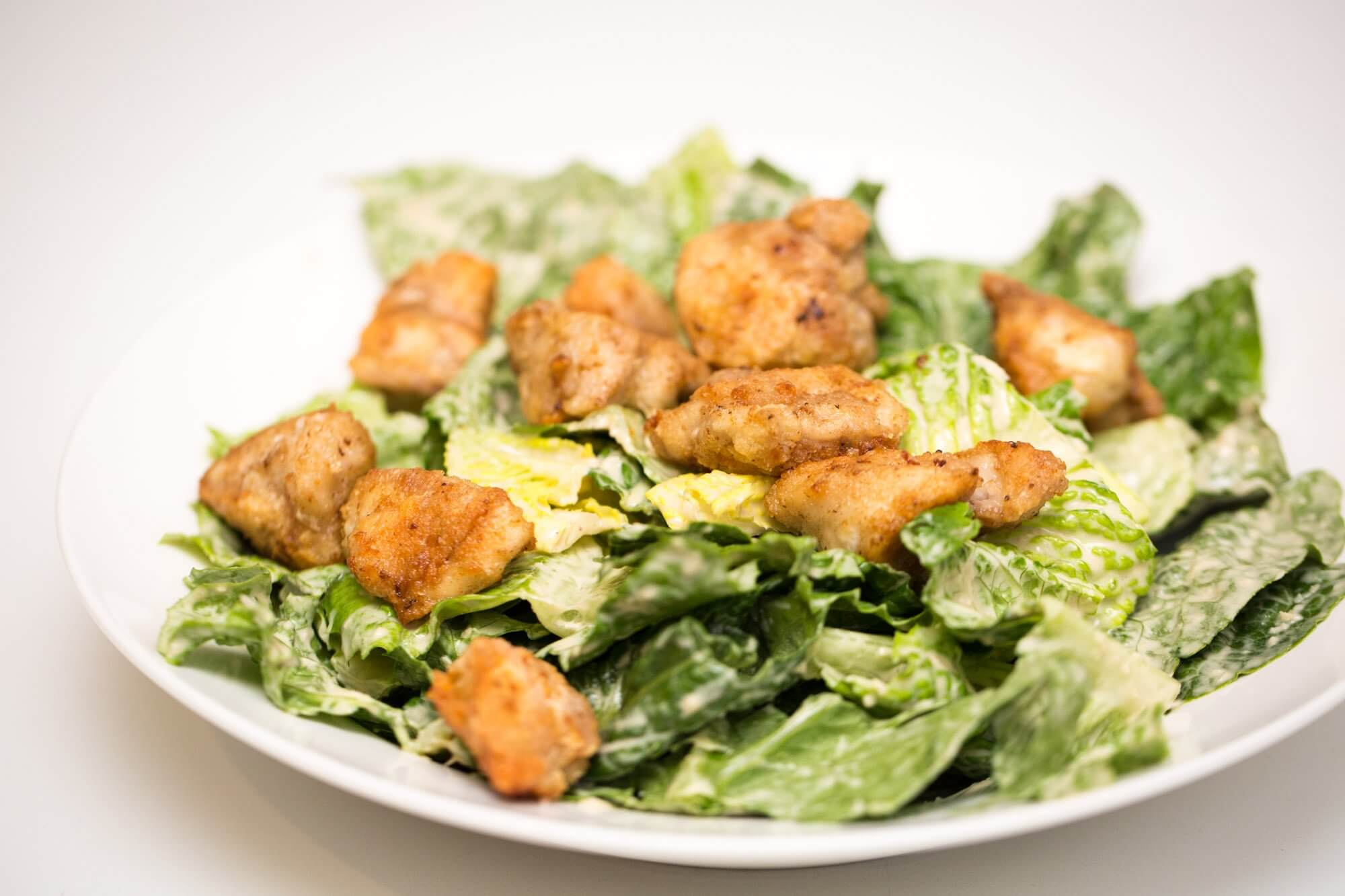 Classic Caesar salad with chicken croutons
