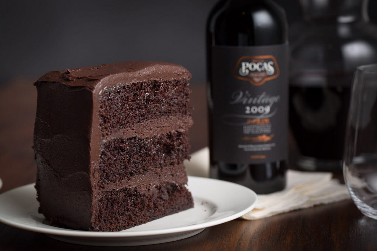 Hot chocolate layered cake paired with Pocas vintage port