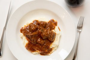 Goulash Triestino with mashed potatoes