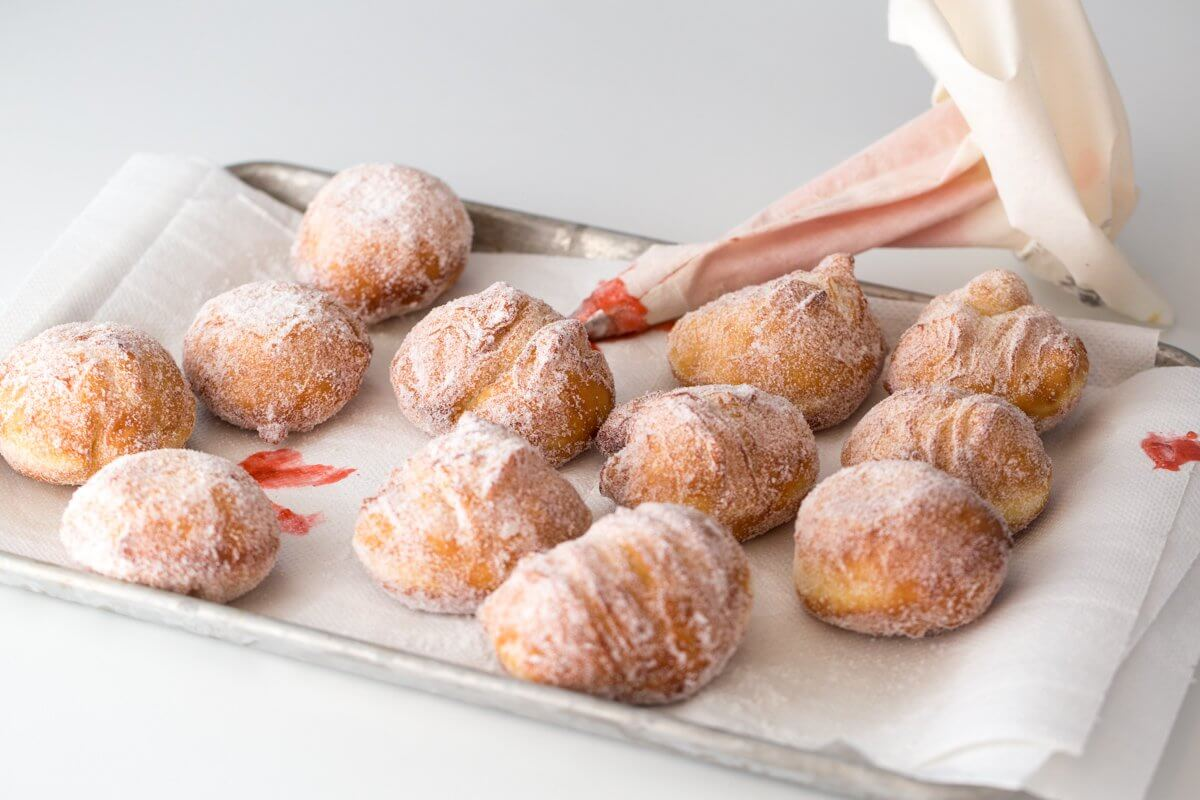 Homemade jelly-filled doughnuts