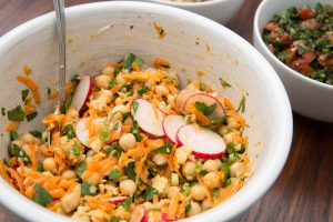 Chickpea, carrot, radish and parsley salad