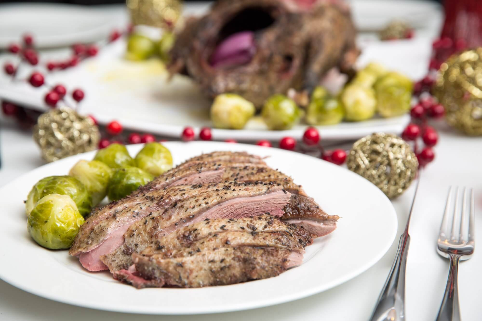 Roast Canada Goose with brussels sprouts