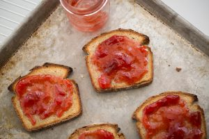 Homemade strawberry jam on homemade bread