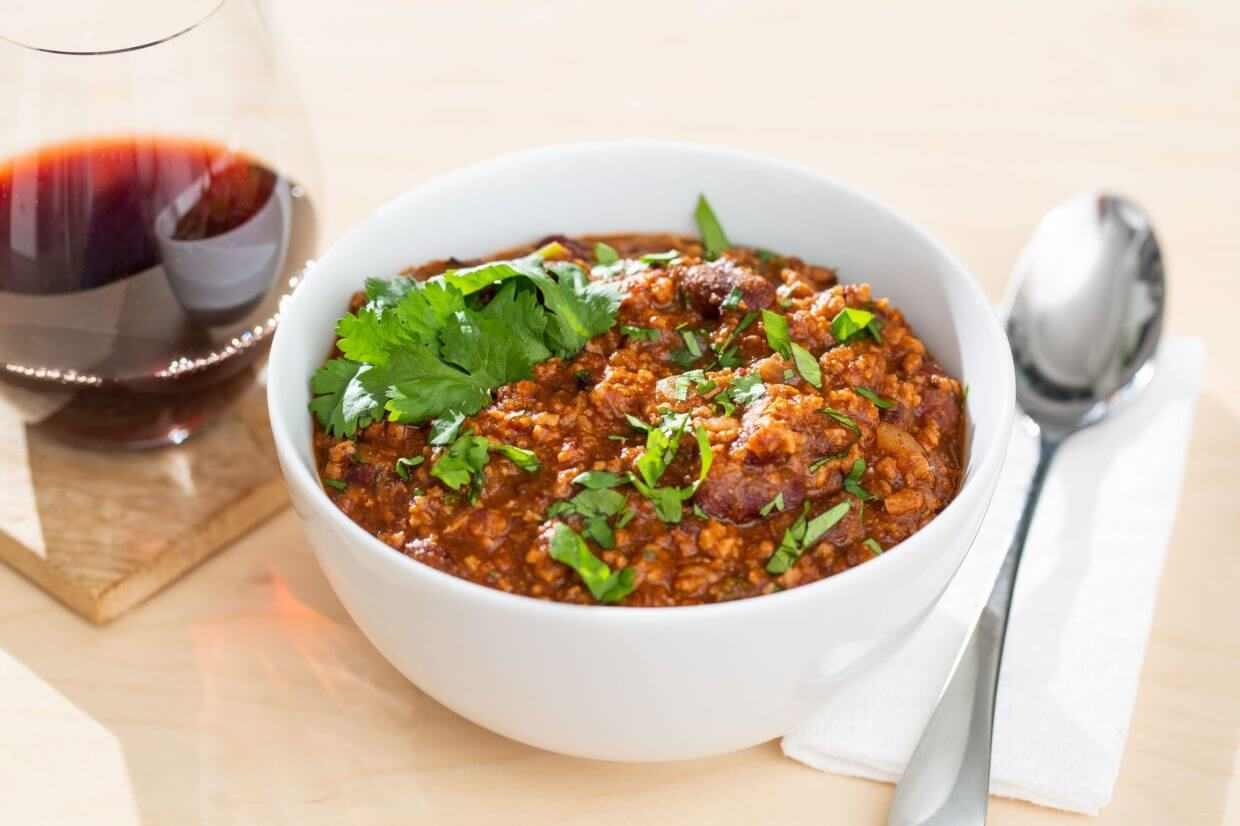 Vegan TVP chili, and a glass of red wine