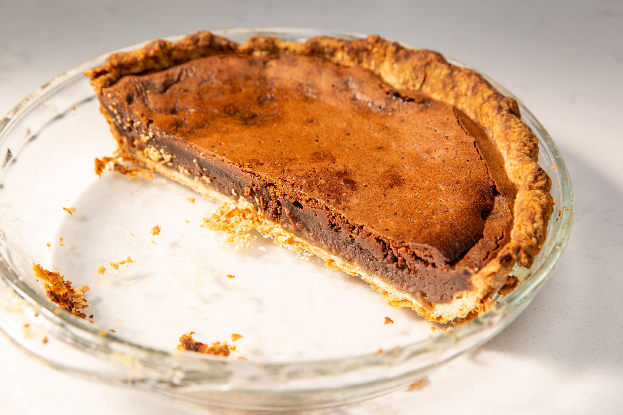 Chocolate chess pie, with half remaining