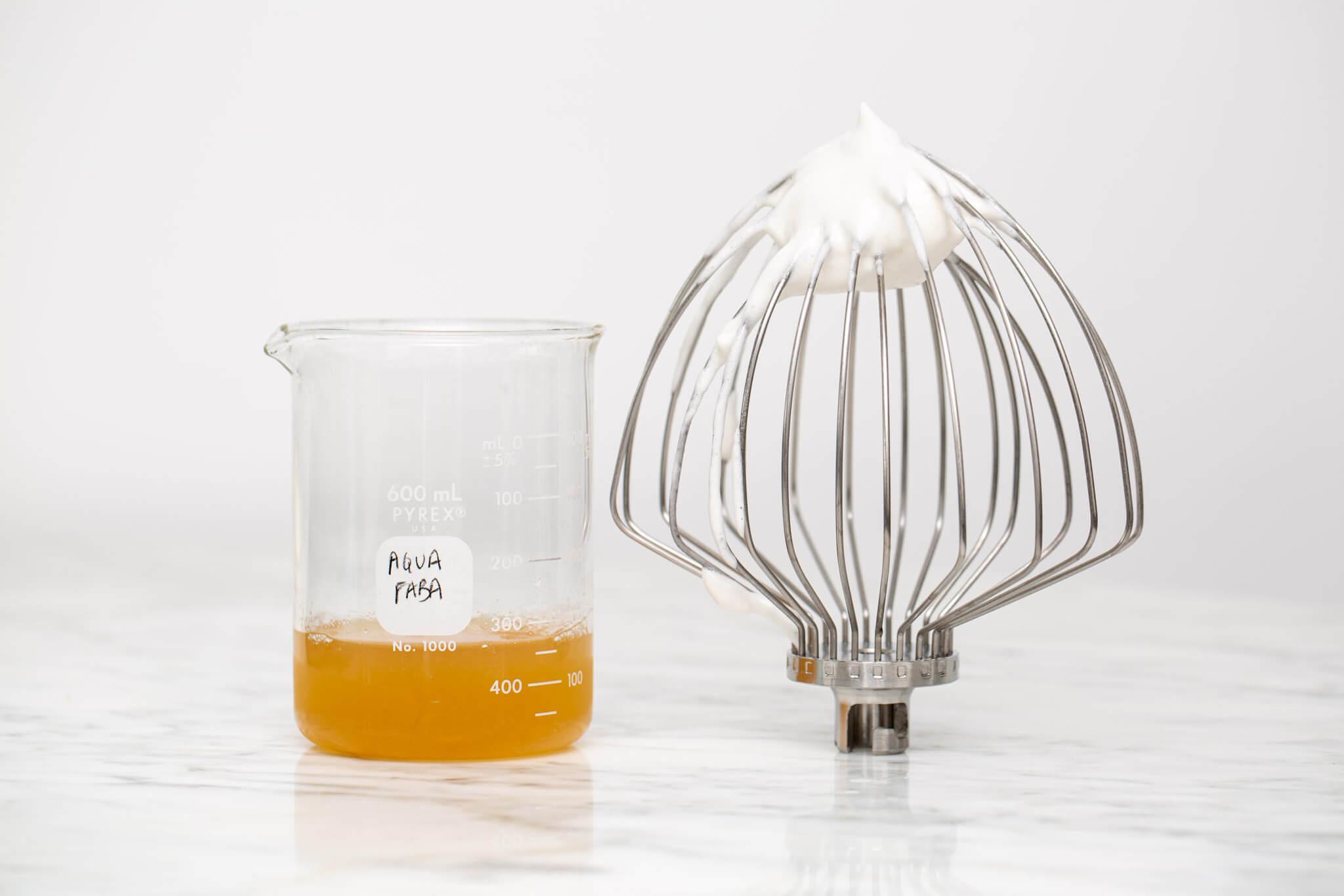 Liquid aquafaba beside whipped aquafaba as a vegan whipped egg white substitute