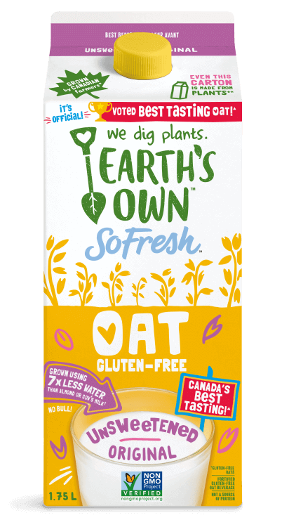 1.75L carton of Earth's Own Unsweetened Original oat milk